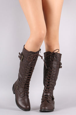 Wild Diva Lounge Triple Buckle Lace Up Military Knee High Boots
