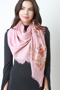 Floral Embroidered Frayed Scarf