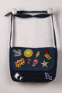 Graphic Patch Denim Messenger Bag