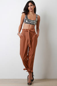 Cinched Bow-Tie High Waisted Pants