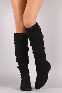 Suede Slouchy Riding Knee High Boots