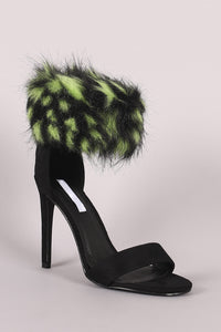 Faux Fur Ankle Cuff Suede Single Sole Stiletto Heel