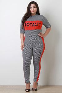 Royalty Finish Line Checker Mock Top with Leggings Set