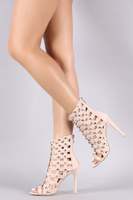 Suede Studded Elasticized Caged Stiletto Heel