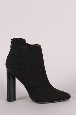 Qupid Suede Pointy Toe Chunky Heeled Ankle Boots