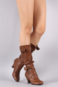 Slouchy Crisscross Buckled Strap Heeled Boots