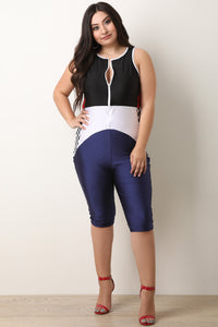 Colorblock Zip-Up Biker Jumpsuit