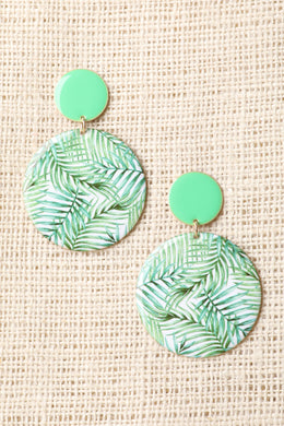 Circular Leaf Print Dangle Earrings