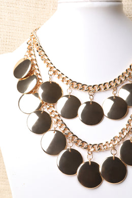 Layered Curb Link Disc Necklace