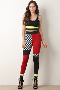 Two-Piece Checkered Colorblock Crop Top With Leggings Set