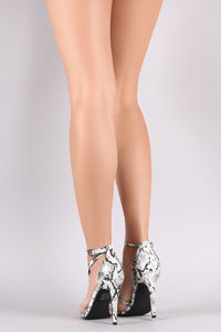 Transparent Pointy Toe Snake Asymmetric Stiletto Heel