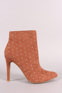 Anne Michelle Rhinestone Suede Pointy Toe Stiletto Booties
