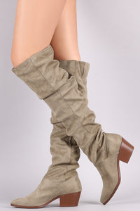 Qupid Suede Slouchy Almond Toe Over-The-Knee Boots