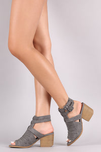 Qupid Distressed Nubuck Braided Chunky Heeled Mules