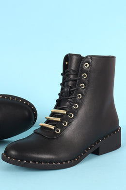Qupid Vegan Leather Triple Bar Lace-Up Combat Boot