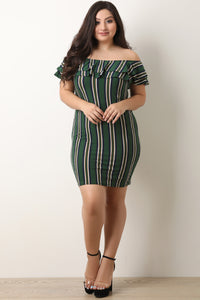 Striped Double Flutter Tier Bardot Dress