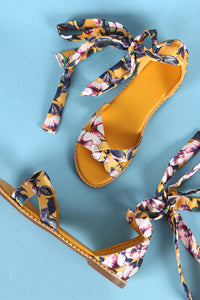 Bamboo Satin Floral Ankle Lace-Up Flat Sandal