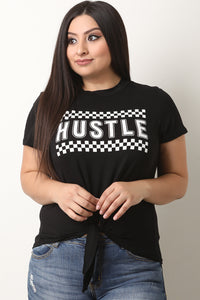 Checker Hustle Front Tie Top