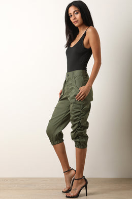 Ruched Utility Capri Pants