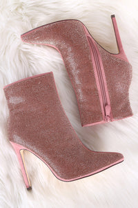 Rhinestone Encrusted Pointy Toe Stiletto Booties