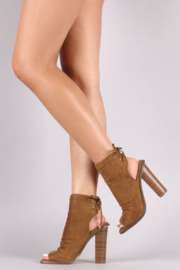 Liliana Suede Back Lace-Up Slouchy Chunky Heeled Booties