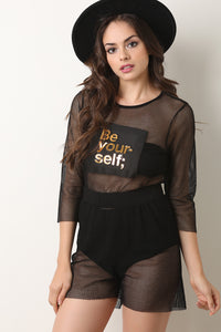 Be Yourself Fishnet Quarter Sleeve Crop Top With Shorts Matching Set