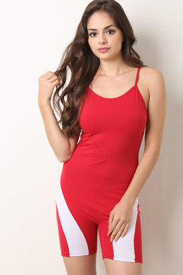 Two Tone Jersey Scooped Neck Biker Romper