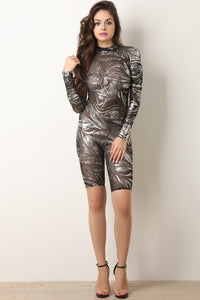 Foiled Mesh Mock Neck Biker Romper