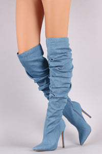 Denim Pointy Toe Slouchy Stiletto Over-The-Knee Boots