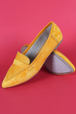 Bamboo Suede Pointy Toe Loafer Flat