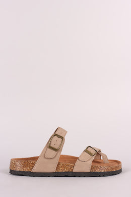 Bamboo Nubuck Buckled Thong Cork Footbed Slide Sandal