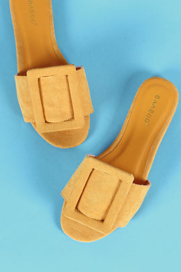 Bamboo Oversized Buckled Slide Flat Sandal