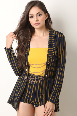 Pinstriped Button Chain Blazer with Shorts Set
