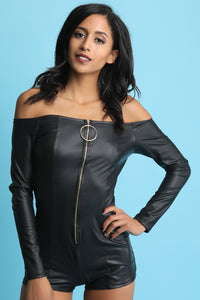 Vegan Leather Bardot O-Ring Zip Up Romper