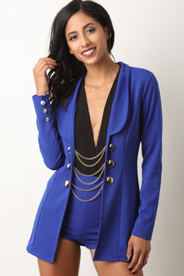 Button Chain Blazer with High Rise Shorts Set