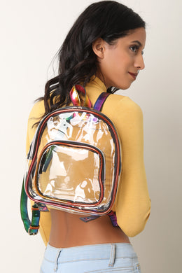 Clear Rainbow Trim Mini Backpack