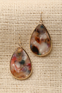 Multi Colored Marble Teardrop Earrings