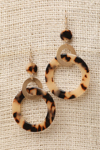 Tortoiseshell Link Hoop Dangle Earrings