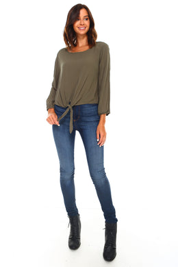 Women's Long Sleeve Tie Solid Top