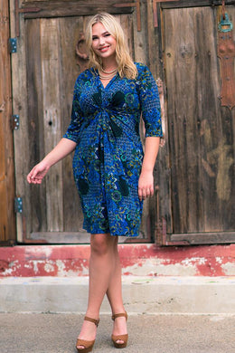 Women's Plus Size 3/4 Sleeve V-Neck Floral Pattern Dress