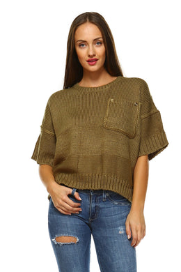 Women's Short Sleeve Chunky Sweater