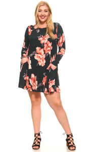 Women's Plus Size Floral Long Sleeve Loose Pocket Dress