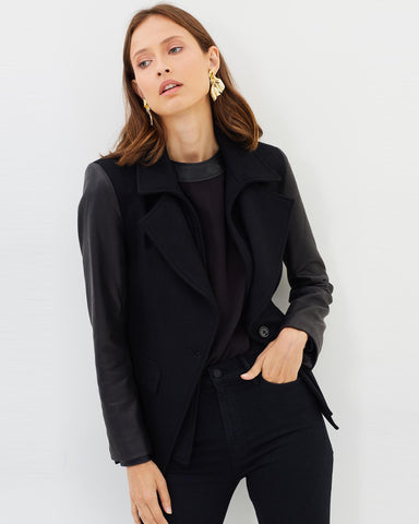 Givenka Wool & Leather Blazer - Jet Black