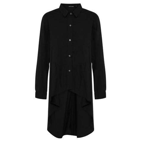 Abey Long Line Shirt - Jet Black