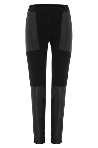 Eddie ladies fitted pant with leather trims - front view