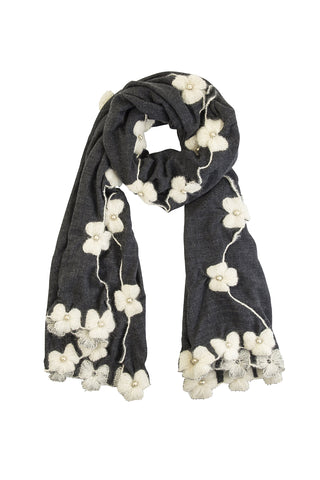 Floral serenade hand woven scarf