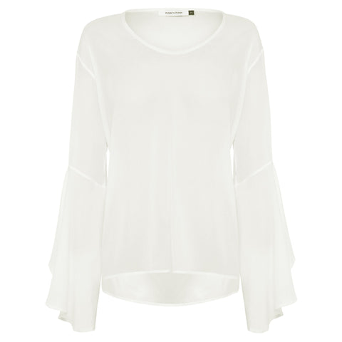 Grace Silk Top - White Chalk