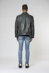 Marlon zip biker leather jacket Graphite Back