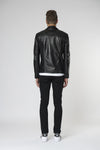 Marlon zip biker leather jacket Jet back