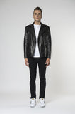 Marlon zip biker leather jacket Jet Front